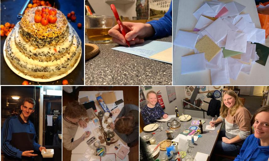 collage kaarten schrijven door studenten voor ouderen in coronatijd